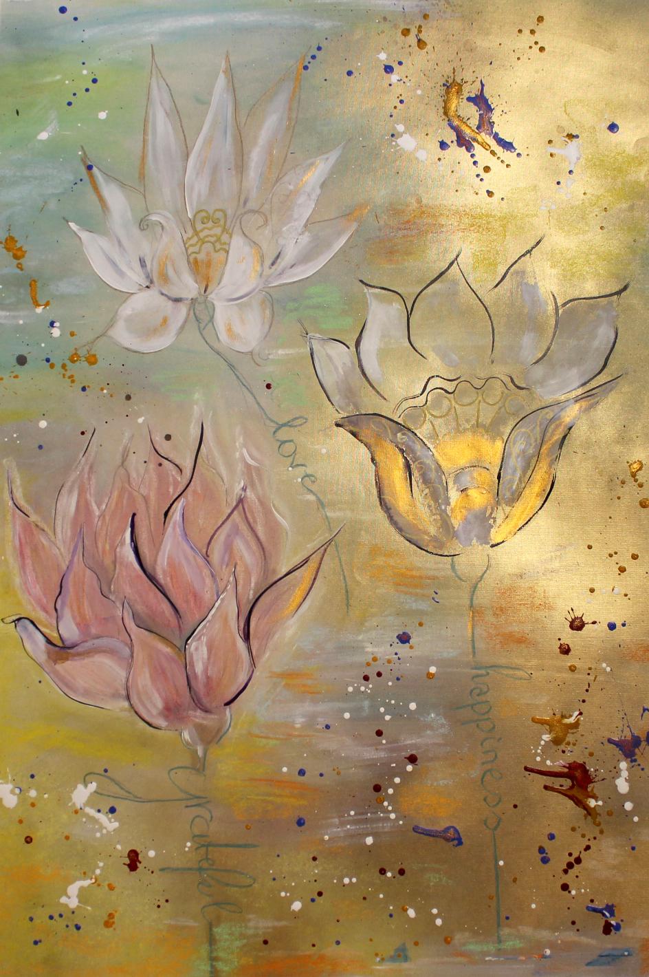 Die 3 Lotussäulen; Mixed Art auf Buchleinen-Papier; ca. 90 x 70 cm