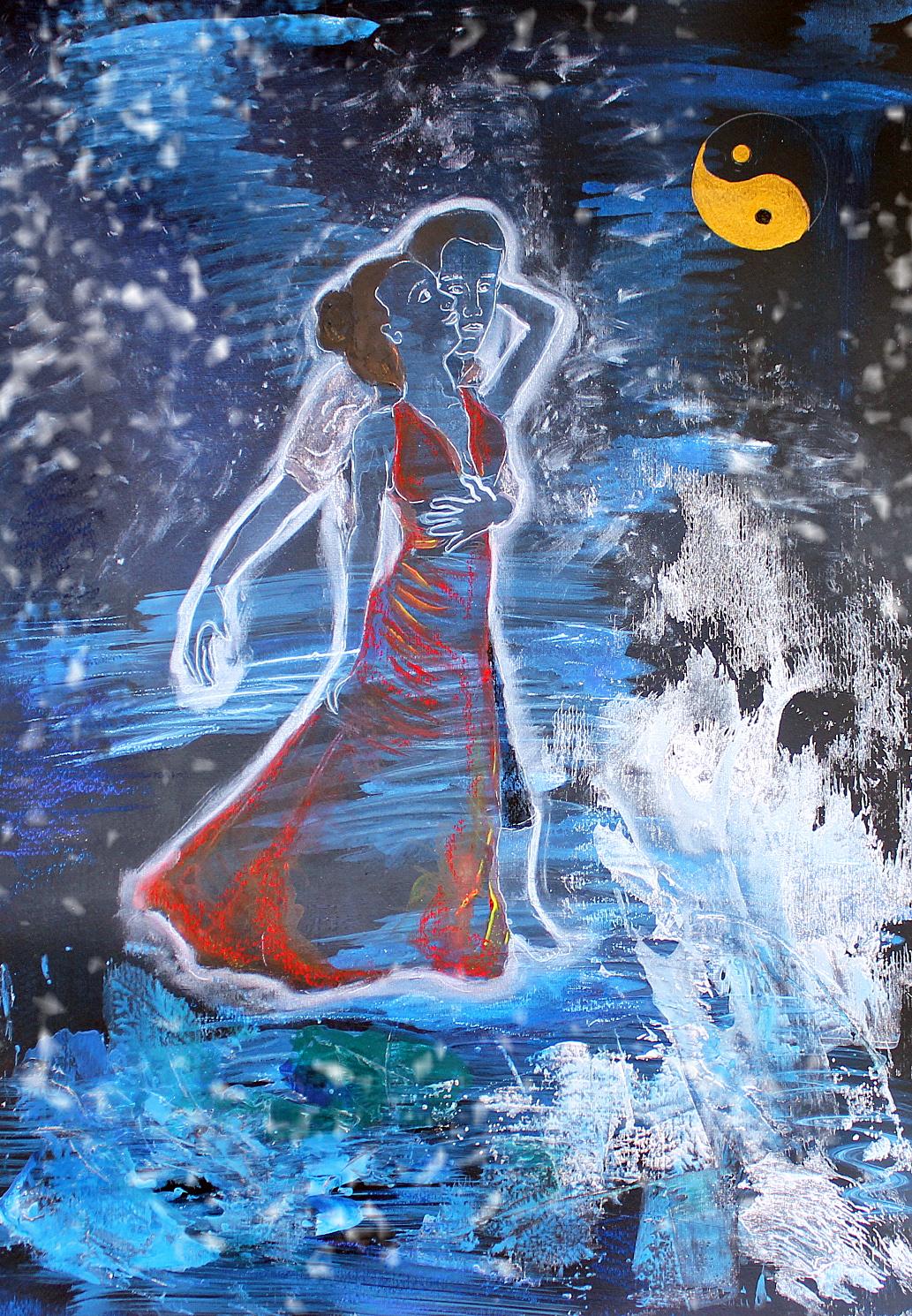 Tanz der Urahnen, Acryl auf Acrylkarton, 70 x 50 cm