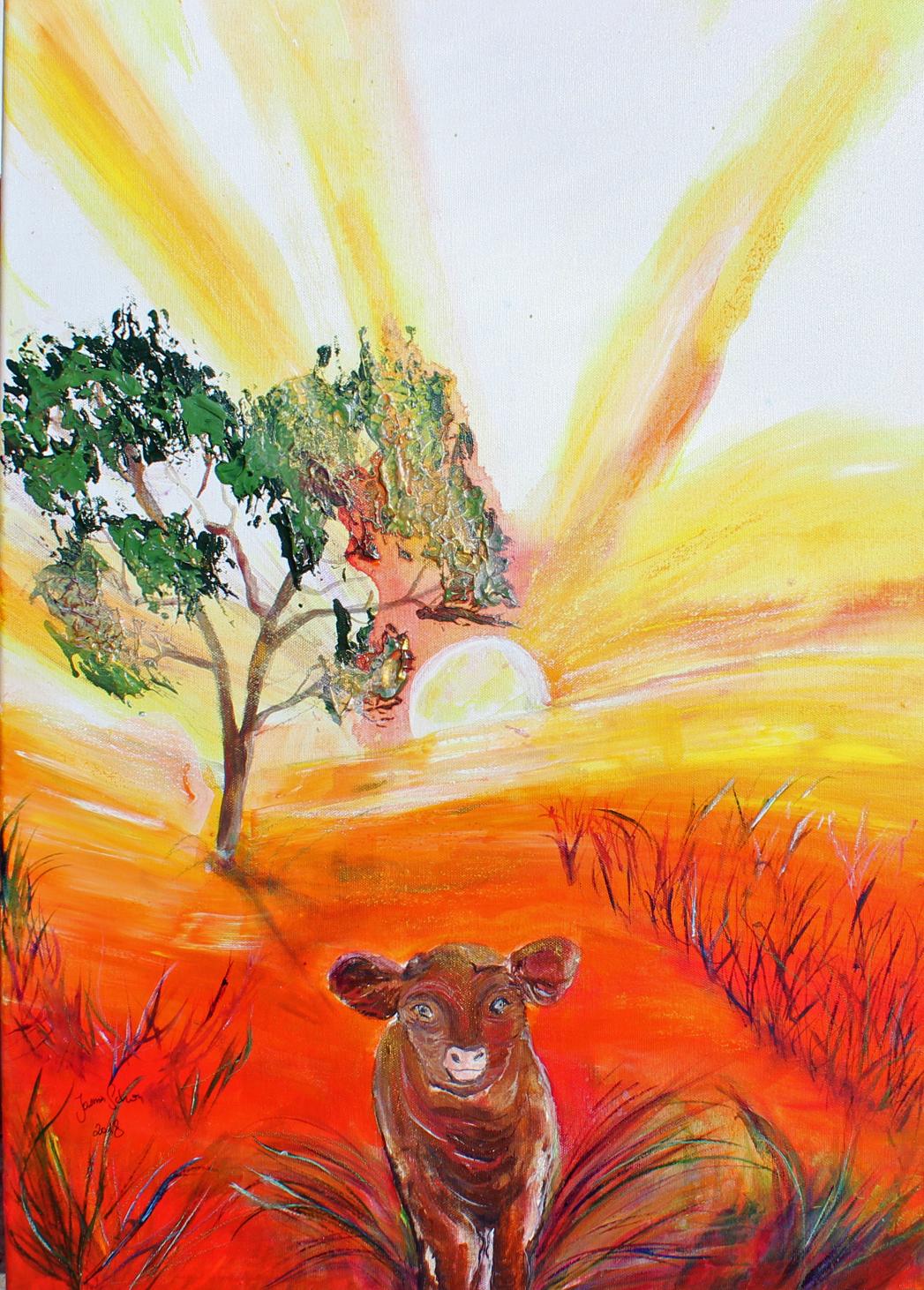 Der Morgenspaziergang, Mixed Art: Acryl & Kreide auf Leinwand, 70 x 50 cm