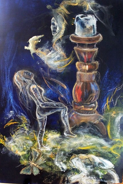 Kerzenzauber, Acryl auf Malpappe, 50 x 70 cm