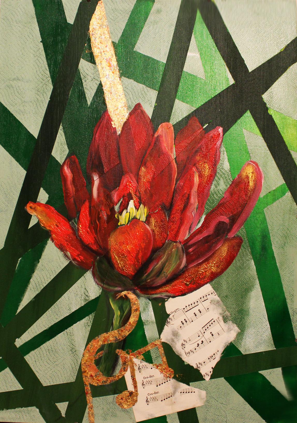 """Lotuslied"", Acryl auf Malkarton"