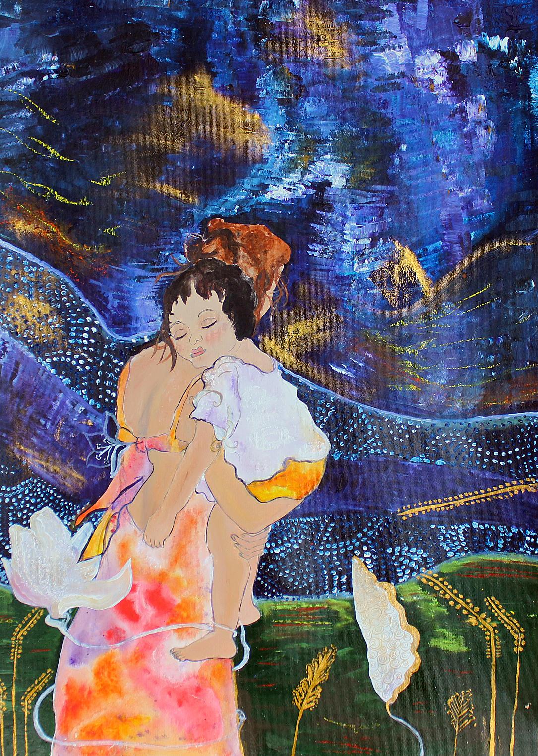 Muttertag; Acryl auf Acrylkarton, 70 x 50 cm