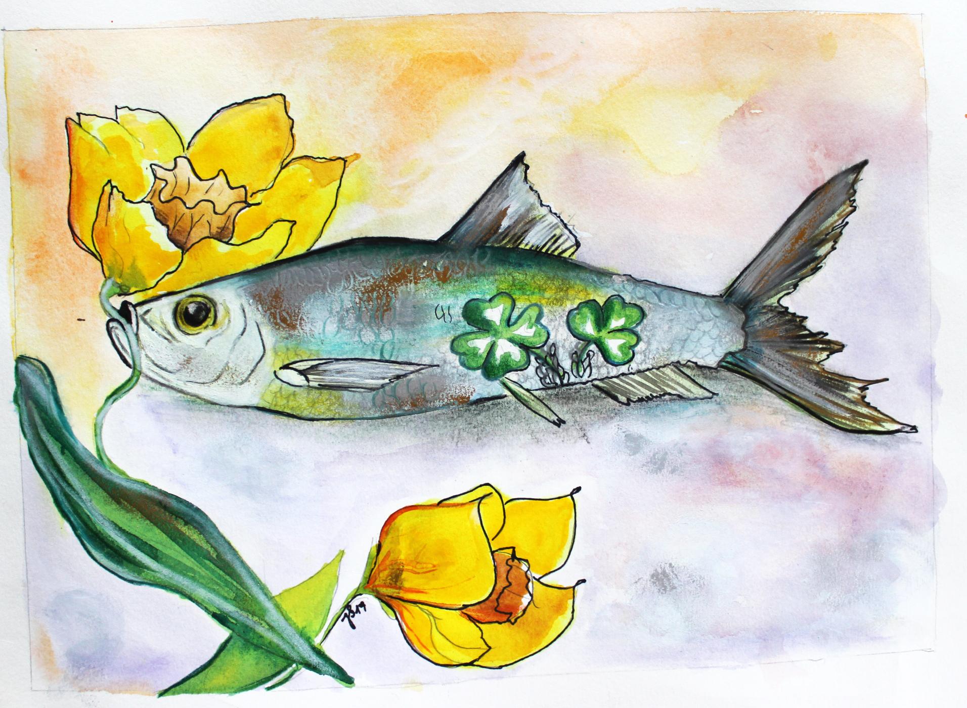 Springtime; Aquarell/Buntstift auf Büttenpapier; 40 x 50 cm
