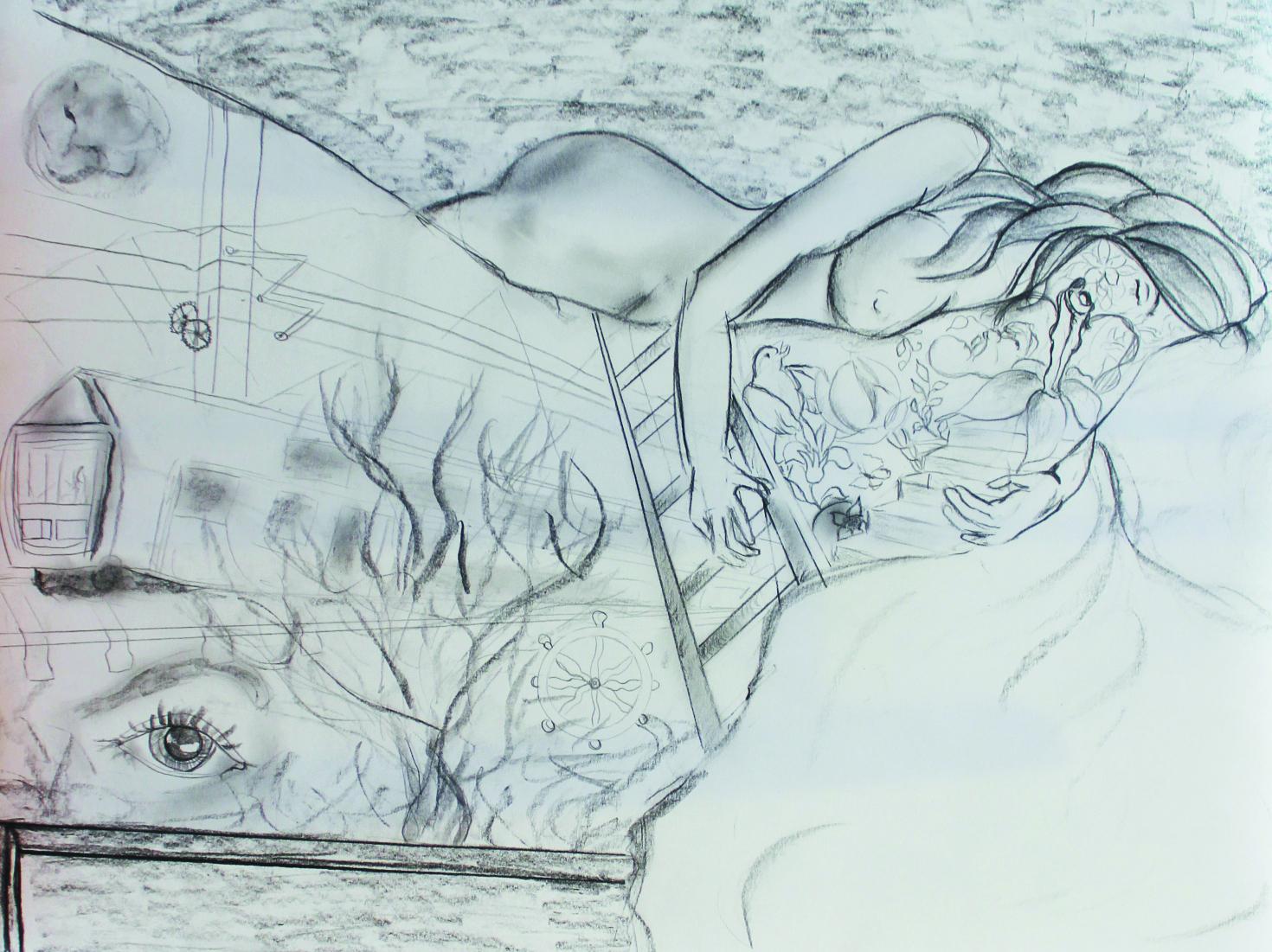 """""""Bewegte Träume"""", Bleistift, 30 x 40 cm"""