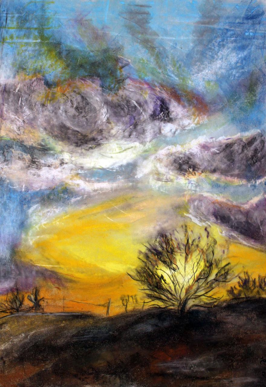 Strauch im Sonnenuntergang, Öl-Pastellkreide auf Velours