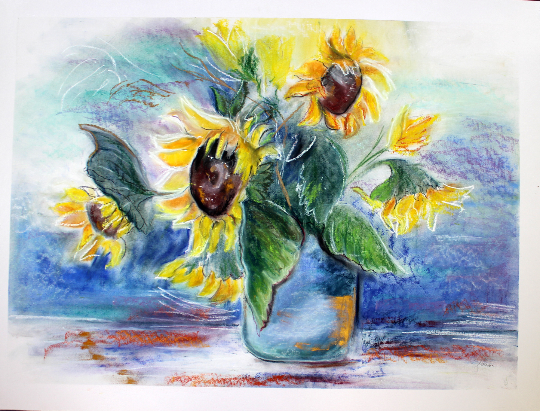 """""""Sonnenblumen""""; Kreide auf Karton, 100 x 120 cm"""