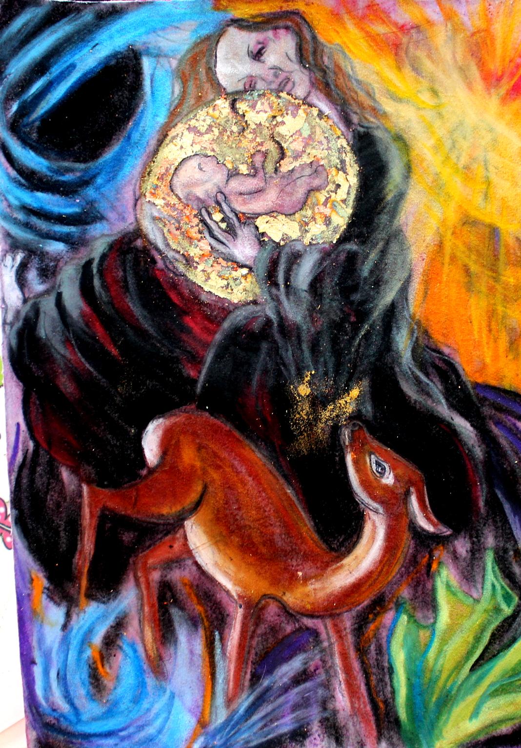 """""""When Schiele talks to you"""", Kreide auf Velours"""