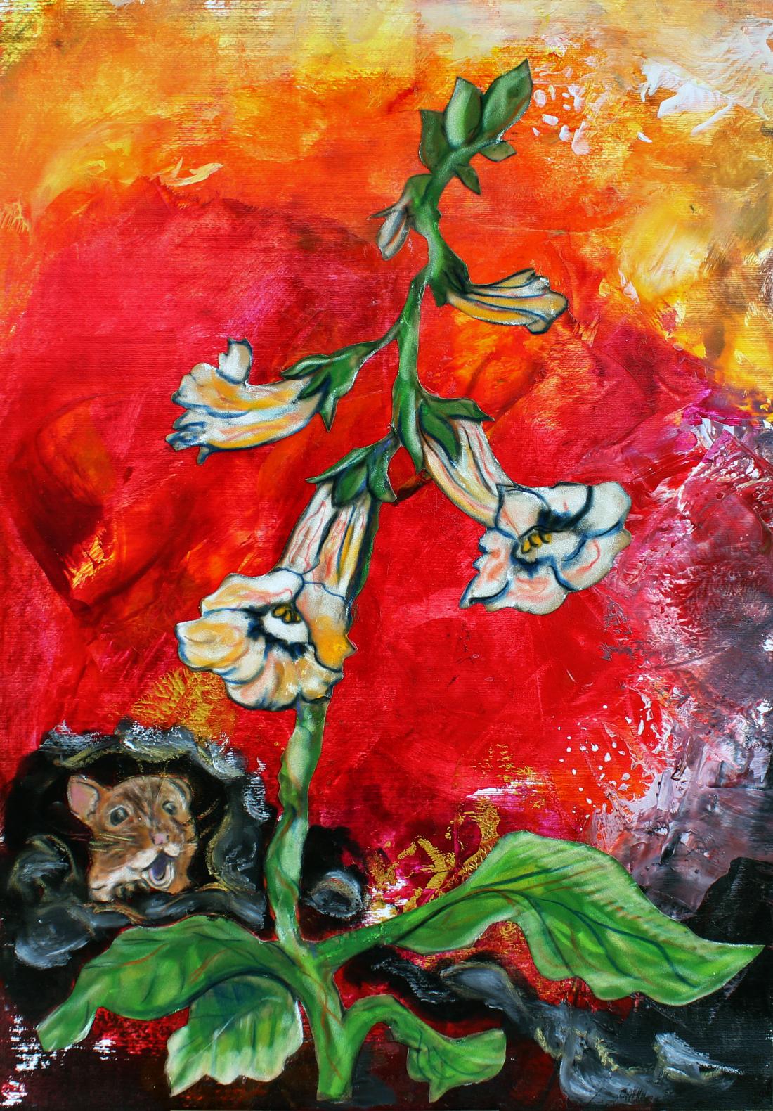 Wer guckt denn da; Mixed Art: Enkaustik & Kreide auf Acrylkarton & Velours, 70 x 50 cm