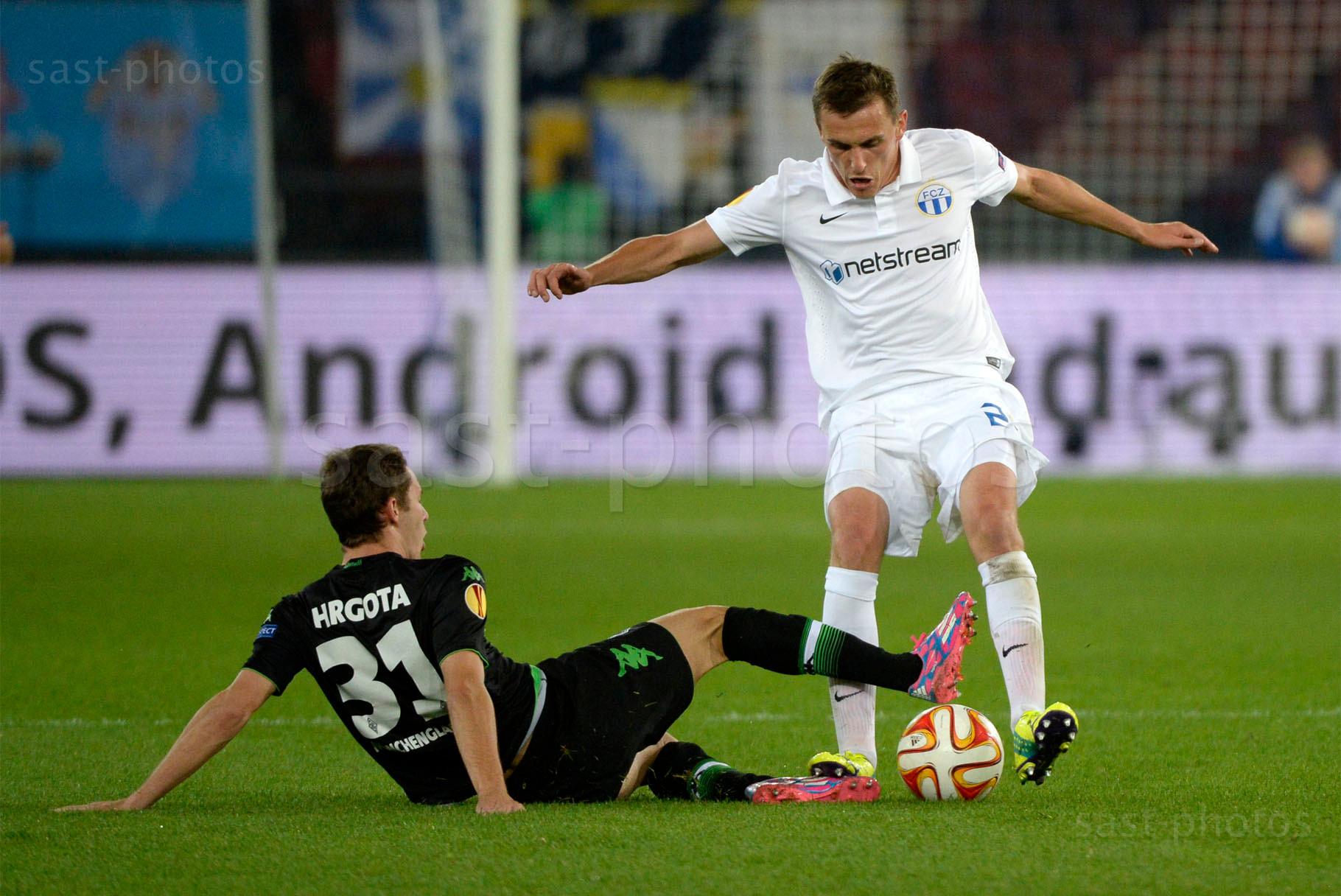 Branimir Hrgota (L. Gladbach) gegen Burim Kukeli (FCZ)