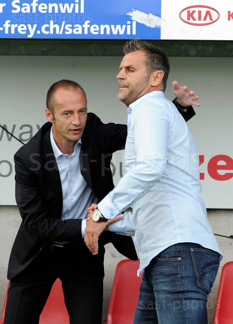 Trainer Frederic Chassot (L. Sion) und Trainer Sven Christ (Aarau)
