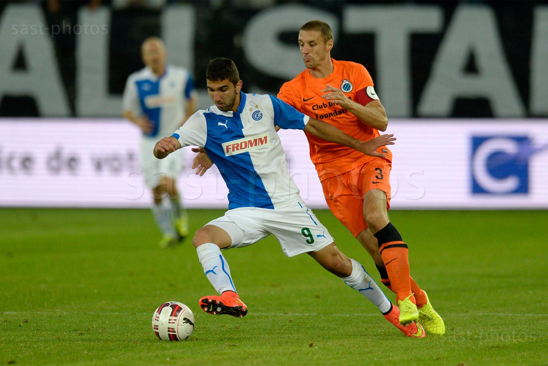 Munas Dabbur (L. GCZ) gegen Timmy Simons (Brugge)