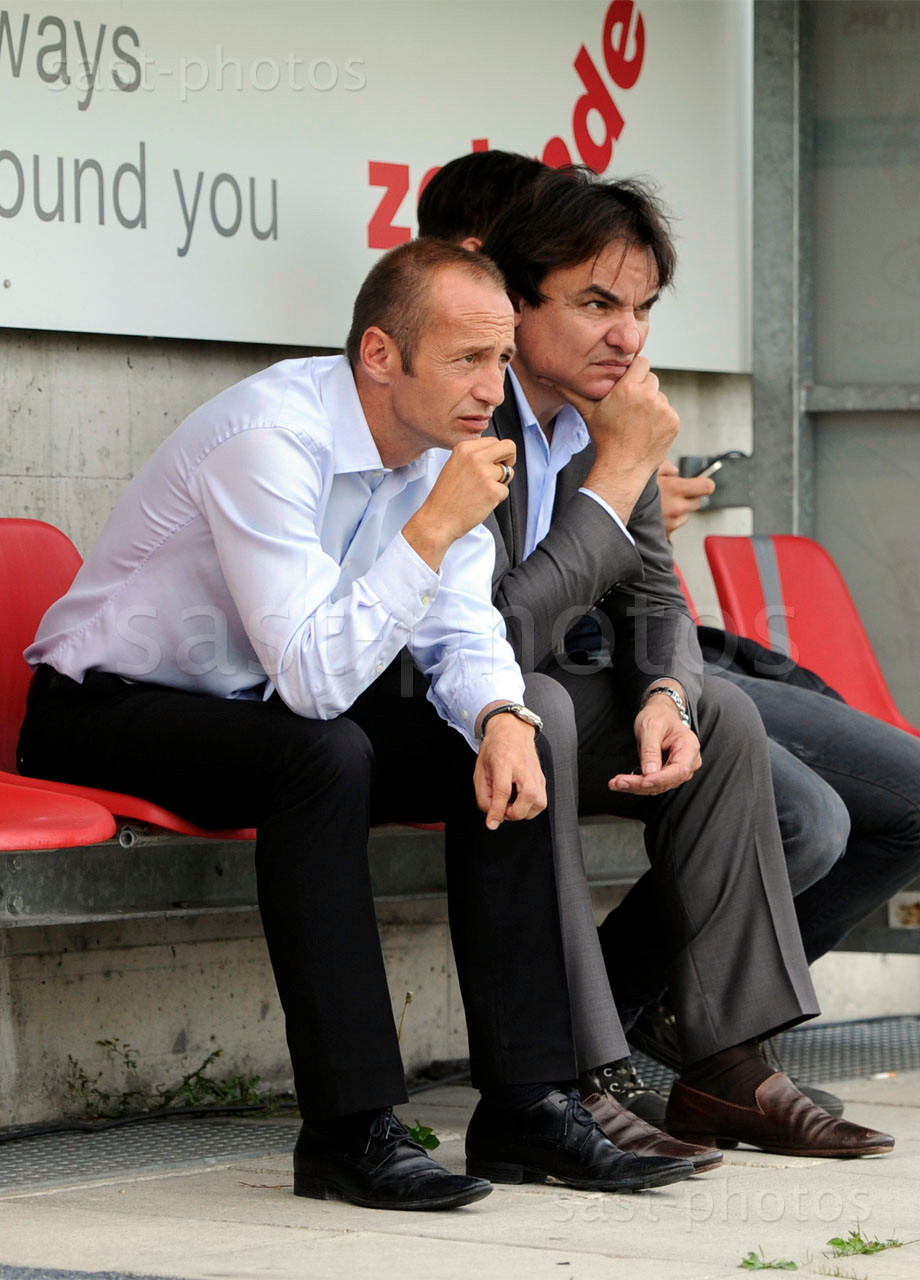 Trainer Frederic Chassot (L. Sion) und Praesident Christian Constantin (Sion)