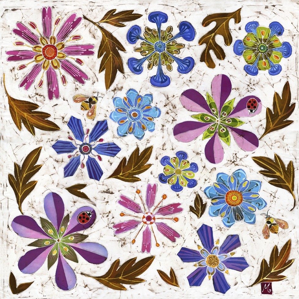 Ladybirds Jewel garden stylised contemporary geometric print flowers autumn leaves
