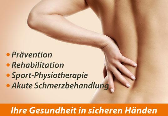Prävention, Rehabilitation, Sport-Physiotherapie, akute Schmerzbehandlung