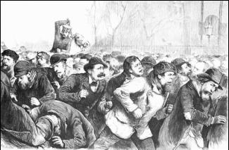 Конная полиция разгоняет демонстрацию безработных в Томпкинс-сквер-парке (Нью-Йорк), 13 янв. 1874. (Мэтт Морген (?), иллюстрация в газете Фрэнка Лесли)