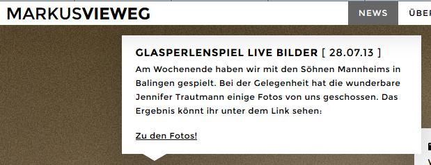 Website Markus Vieweg/u.a. Liveband Glasperlenspiel. 7/2013 -> www.markusvieweg.de