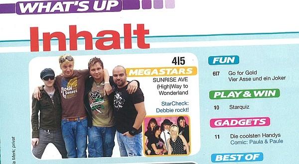Sunrise Avenue: Foto im Inhaltsverzeichnis von S-Infos 1/2008, Jugendmagazin der Sparkassen in Deutschland.