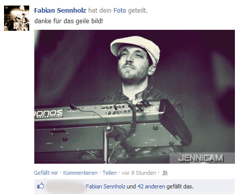 Fabian Sennholz/Keyboards Tim-Bendzko-Band. 2012