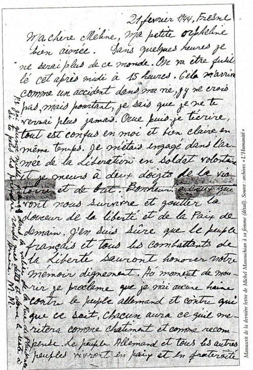 La lettre-testament de Manouchian