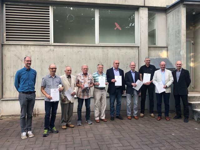 v l. n. r.: Alban Heßberger, Peter Kobert, Theo Eibeck, Norbert Hoffmann, Georg Trageser, Norbert Vock, Reinhold Huth, Markus Schiller, Hubert Huth, Markus Huth