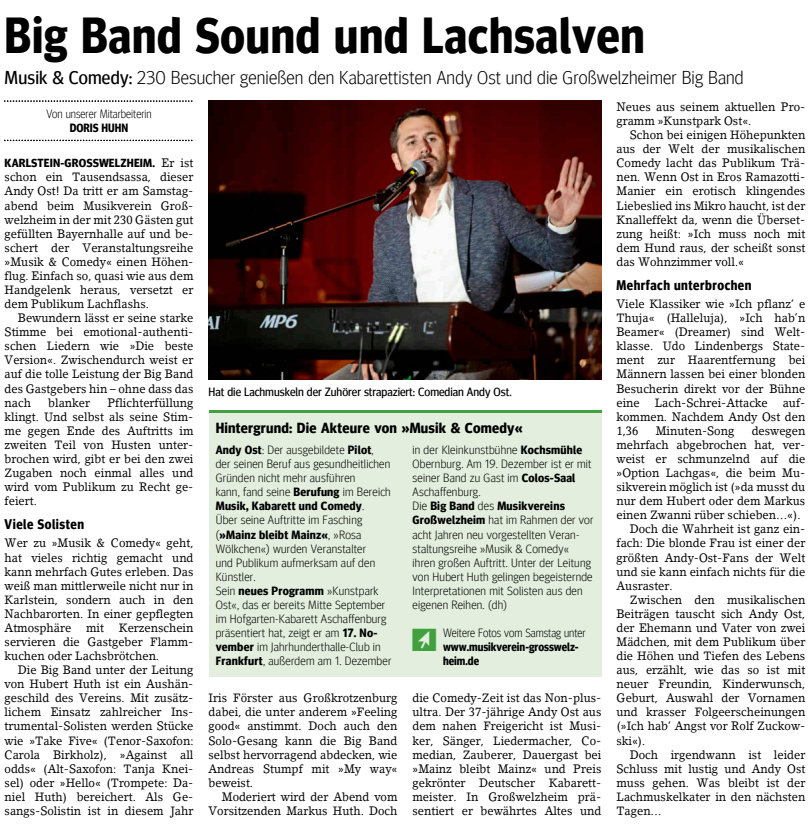 Musik & Comedy 2018, Main-Echo v. 21.10.2018