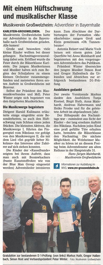 Adventsfeier 2014, Main-Echo v. 19.12.2014