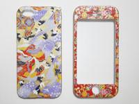 和柄のスマートフォンケース 両面タイプ iPhone5・5S 鶴と松の模様