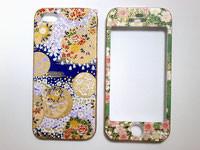 和柄のスマートフォンケース 両面タイプ iPhone5・5S 手毬と桜の模様