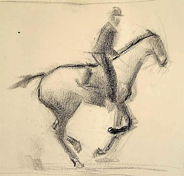 Pferd und Reiter, Lithokreide, 30cmx40cm