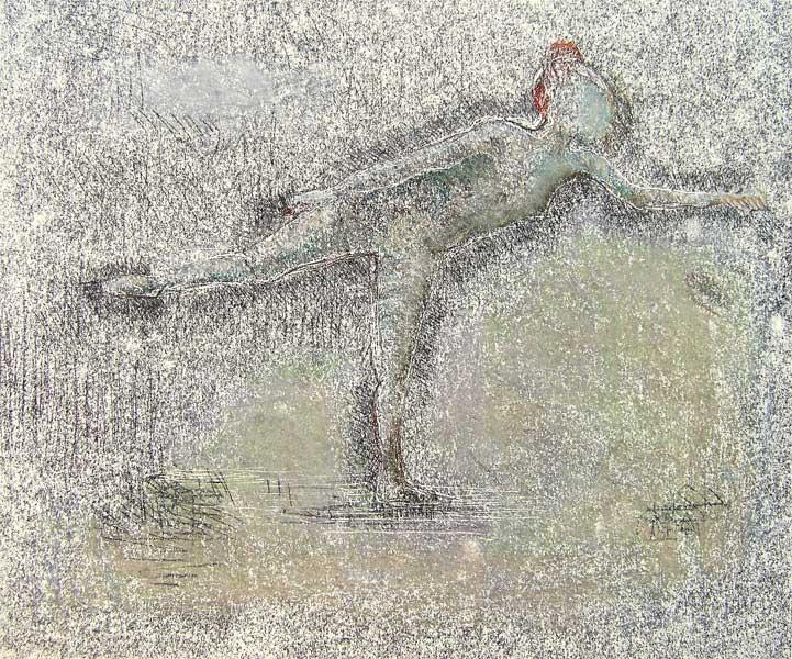 Tänzerin, Monotypie und Pastellkreide, 30cmx40cm