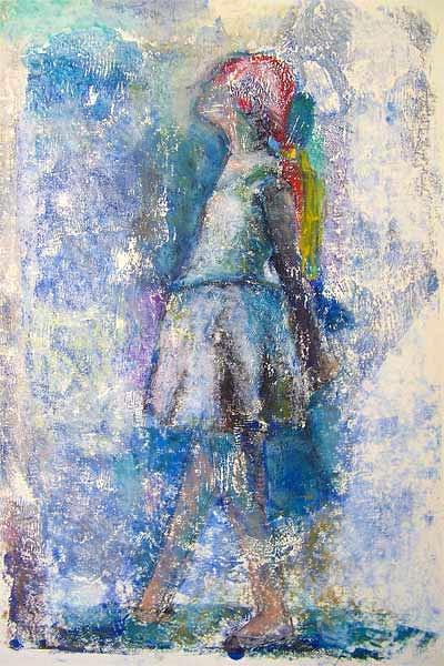 Tänzerin, Monotypie und Ölpastellkreide, 30cmx40cm