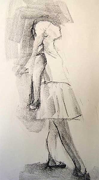 Tänzerin, Lithkreide, 30cmx40cm