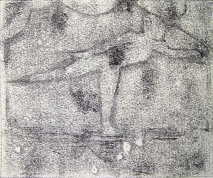 Tänzerin, Monotypie und Bleistift, 30cmx40cm
