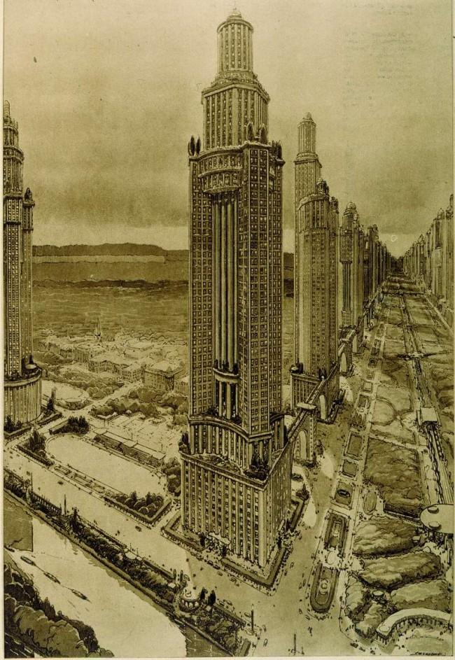 Projet de tours de la voie triomphale par Auguste Perret