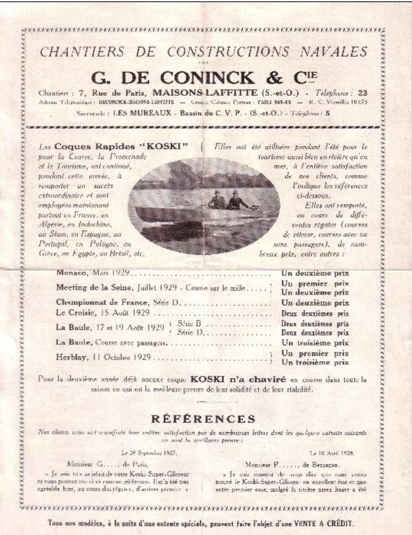 Publicité pour le chantier naval De Coninck à Maisons-Laffitte