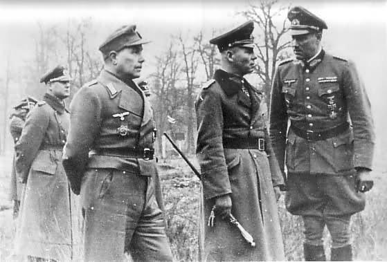 Becker, Rommel et Feuchtinger, commandant de la 21 Panzer Division