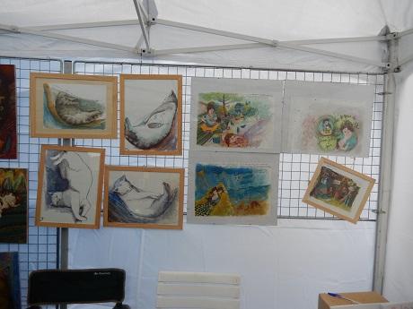 Les oeuvres d'Isaa. Les 4 de droite sont des illustrations d'albums jeunesse de Jeanne Sélène.