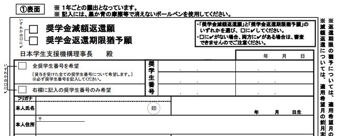 【理由・例文集】日本学生支援機構 奨学金返還期限猶予願兼減額返還願