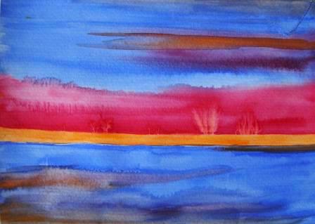 """Blaue Ruhe"" 2007 - 18 x 30 cm (Aquarell, verkauft)"