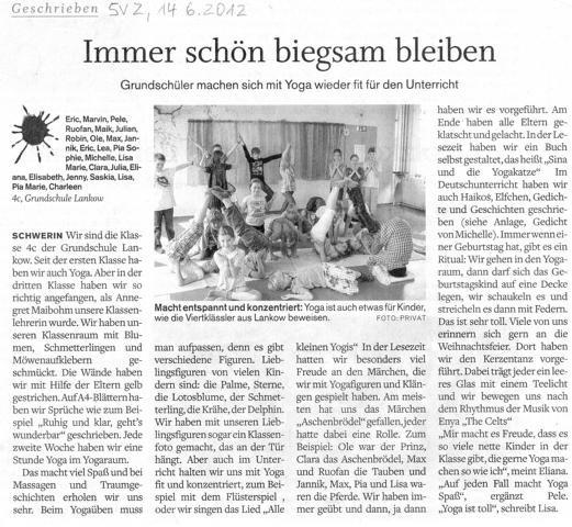 Bericht in der Schweriner Volkszeitung vom 14.06.2012