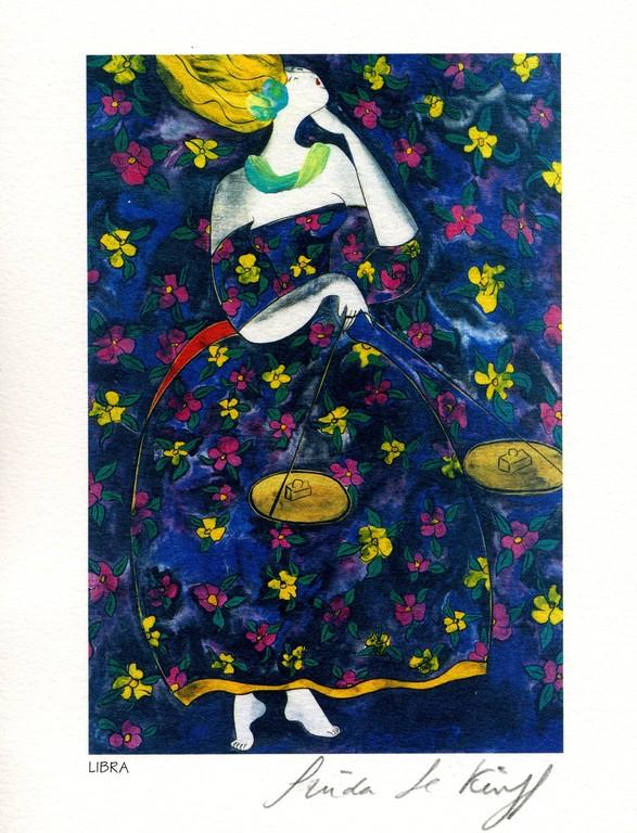 Libra- Lithography - 1983 - Linda Le Kinff