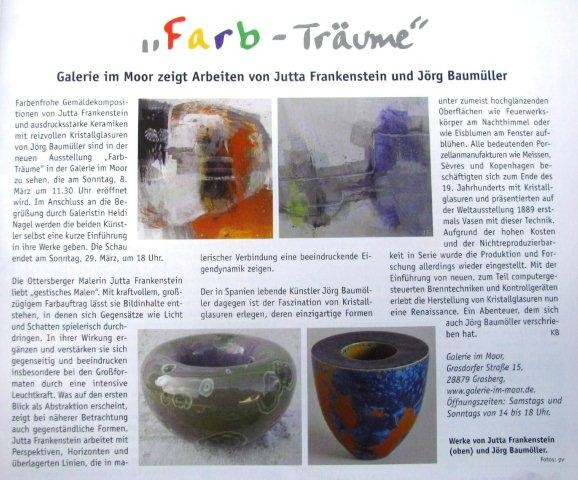 "Worpswede - Grasberg, Germany, 2015, Gallery  Heide Nagel, Expo ""Farb-Träume"", together with Jutta Frankenstein"