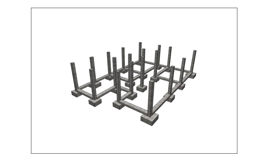 Schon fertig sind die Stützen,Stützenfundamente und die Streifenfundamente für die Wände