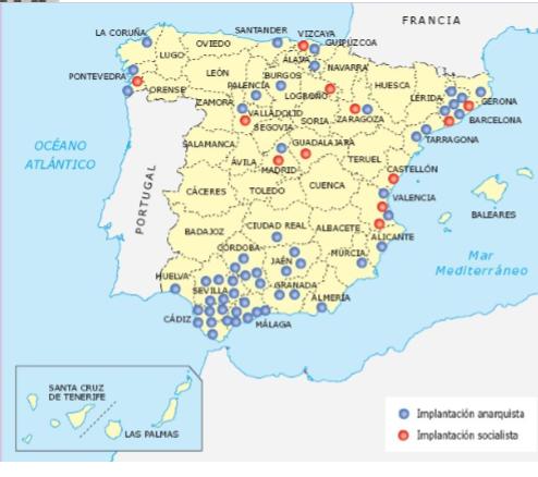 implantacion del socialismo y anarquismo en España por provincias