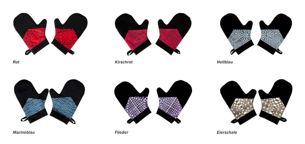 Die unterschiedlichen Farben der Topfhandschuhe