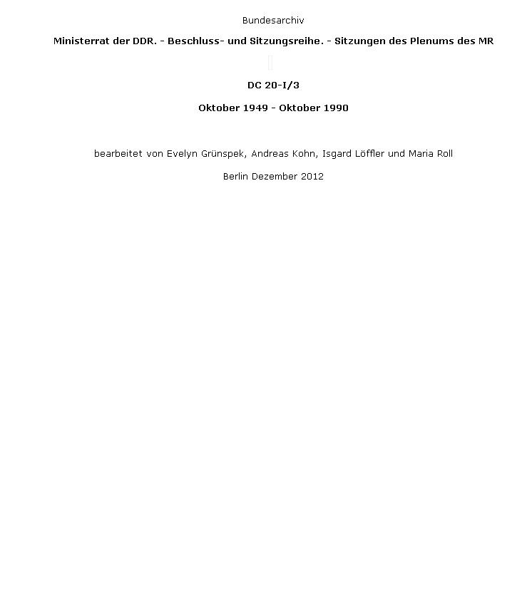 stellten bereit die Dokumente zur 97. Sitzung der Regierung vom 21.08.1952