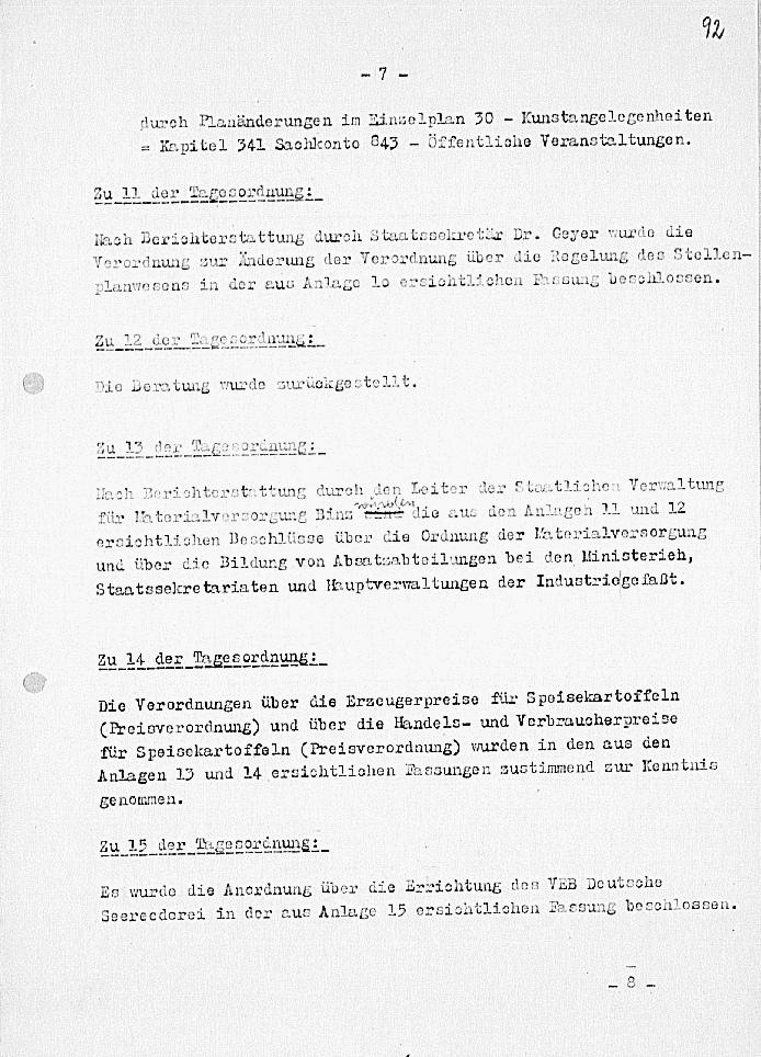 Dokument zur 97. Sitzung der Regierung vom 21.08.1952