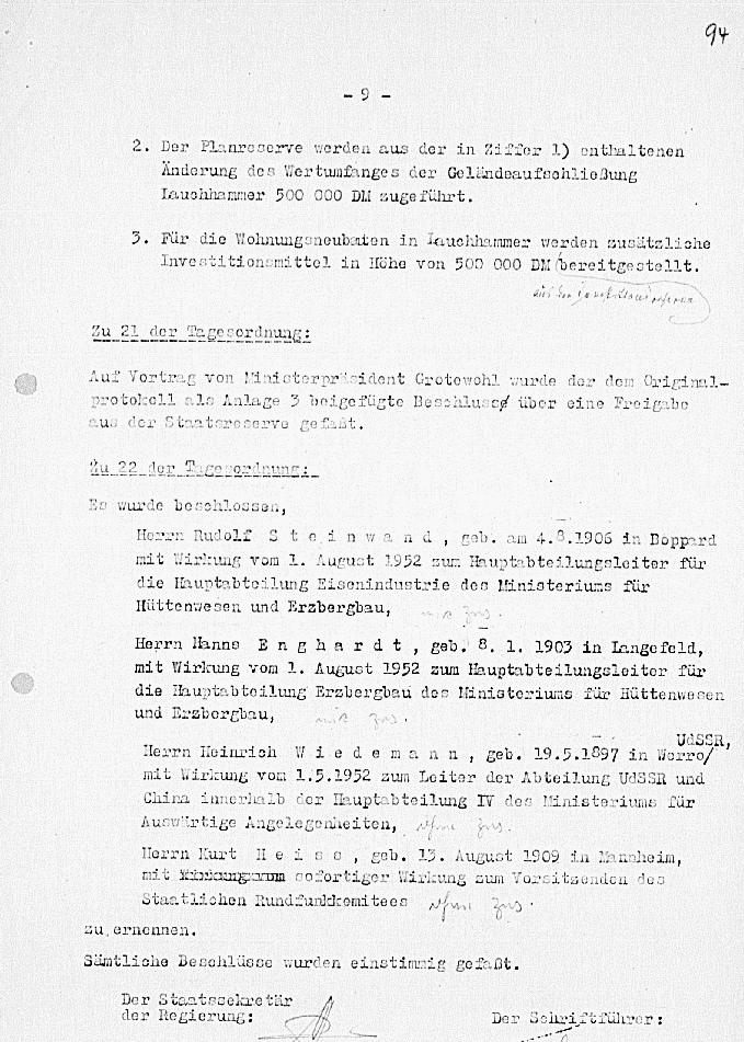 Dokument zur 97. Sitzung der Regierung vom 21.09.1952