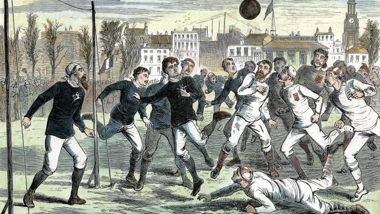 Eine zeitgenössische Darstellung des ersten Länderspiels der Welt zwischen England und Schottland im Jahr 1872