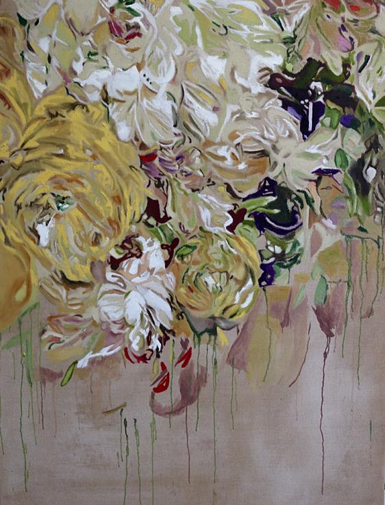 """Flowers with elegance"" 120 x 160 cm - Öl auf Leinwand"